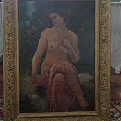 """Картина старинная """"''девушка обнажёнка'' 19век начало 20 века."""