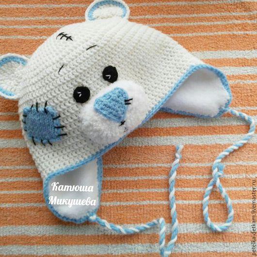 """Шапки и шарфы ручной работы. Ярмарка Мастеров - ручная работа. Купить Шапка """"мишка"""". Handmade. Белый, шапка на зиму"""