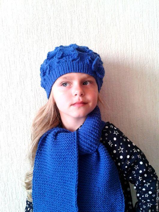 """Комплекты аксессуаров ручной работы. Ярмарка Мастеров - ручная работа. Купить Вязаный комплект для девочки. Шапка и шарф """"Синеглазка"""". Handmade."""
