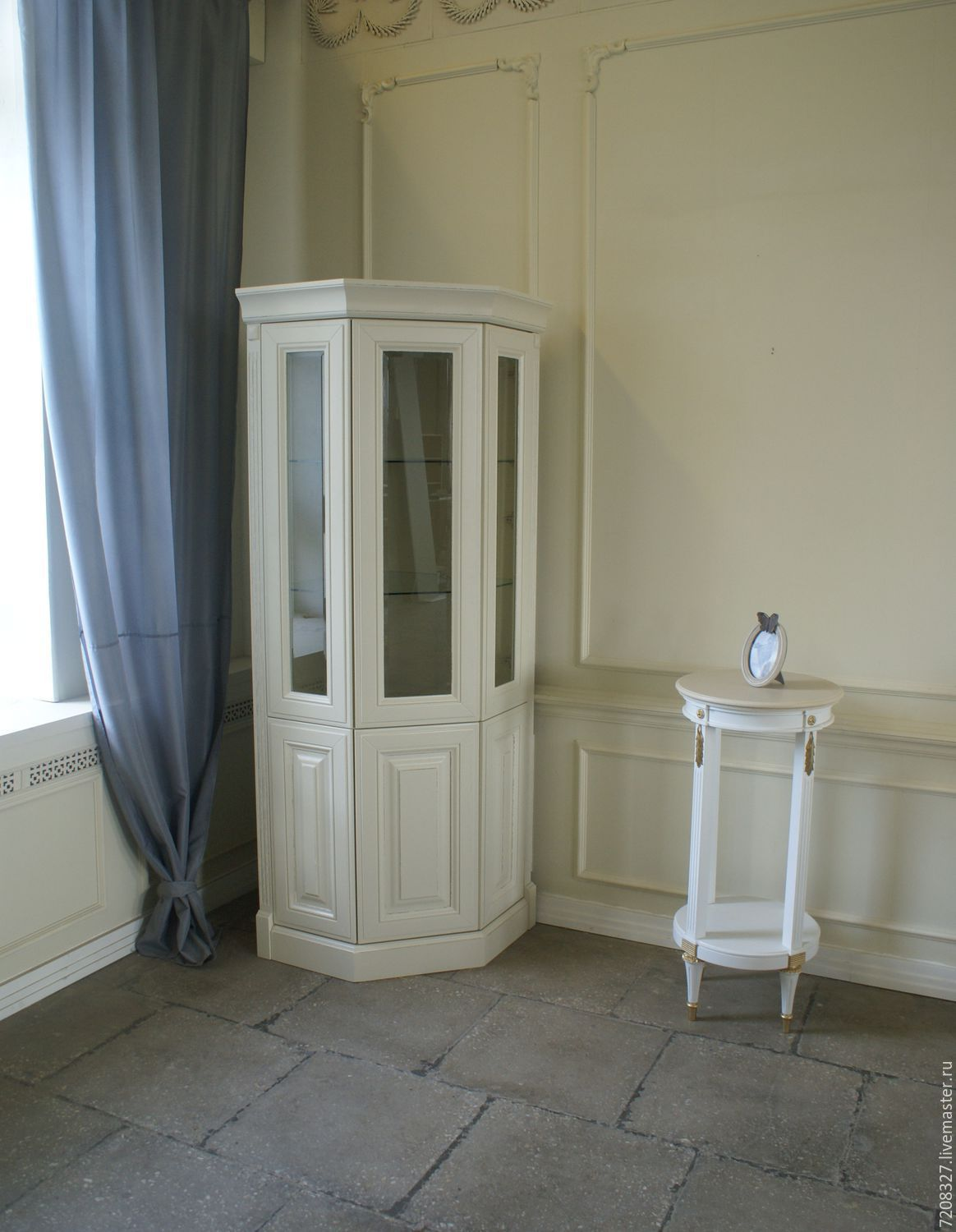 Corner Cabinet-cupboard. Has six sections with shelves for storage. Shelves behind glass doors glass handling euroedge.