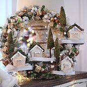 Подарки к праздникам ручной работы. Ярмарка Мастеров - ручная работа Бежевый рождественский веночек. Handmade.