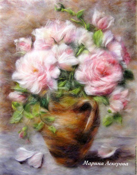 Шерстяные картины мастер класс цветы для начинающих #4