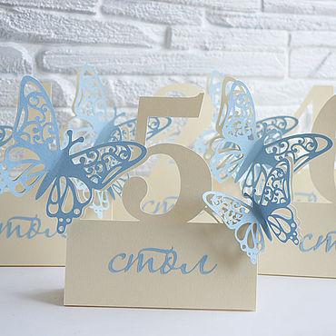"""Свадебный салон ручной работы. Ярмарка Мастеров - ручная работа """"Ванильное небо""""  номер на стол. Handmade."""