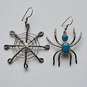 Интересные авторские серебряные винтажные серьги - Паук и Паутина