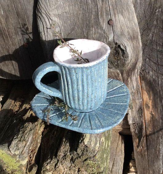 Сервизы, чайные пары ручной работы. Ярмарка Мастеров - ручная работа. Купить Чашка и блюдце Брусничное молоко. Handmade. Керамика