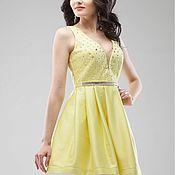Одежда ручной работы. Ярмарка Мастеров - ручная работа Коктейльное платье.Корсетное платье.Желтое платье.. Handmade.