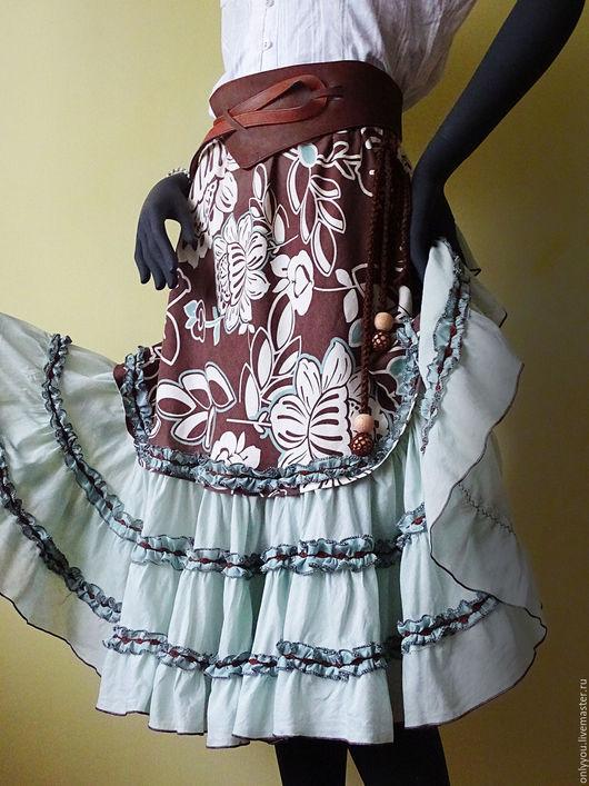 Юбки ручной работы. Ярмарка Мастеров - ручная работа. Купить летняя бохо – юбка. Киприда. Handmade. Коричневый, лето