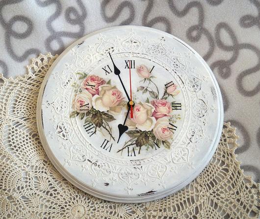 Часы для дома ручной работы. Ярмарка Мастеров - ручная работа. Купить Часы Шебби шик. Handmade. Белый, часы декупаж