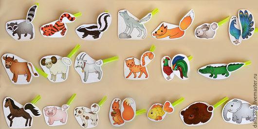 """Развивающие игрушки ручной работы. Ярмарка Мастеров - ручная работа. Купить Игра с прищепками """"Чей хвостик?"""" (10 зверей). Handmade."""