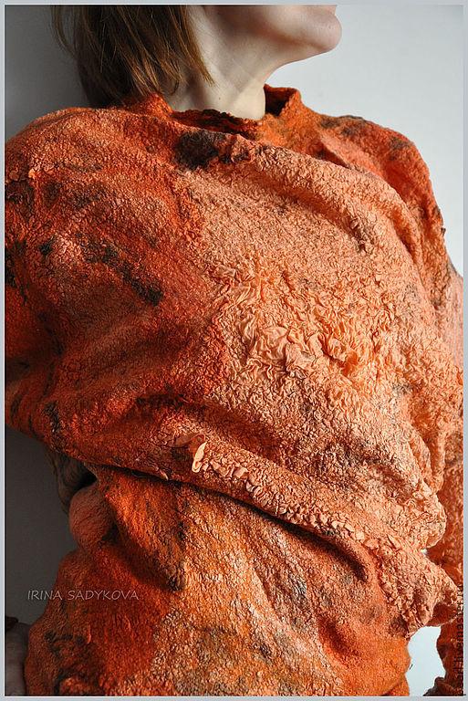 """Кофты и свитера ручной работы. Ярмарка Мастеров - ручная работа. Купить Блузон """"Orange"""". Handmade. Рыжий, жатый шелк"""