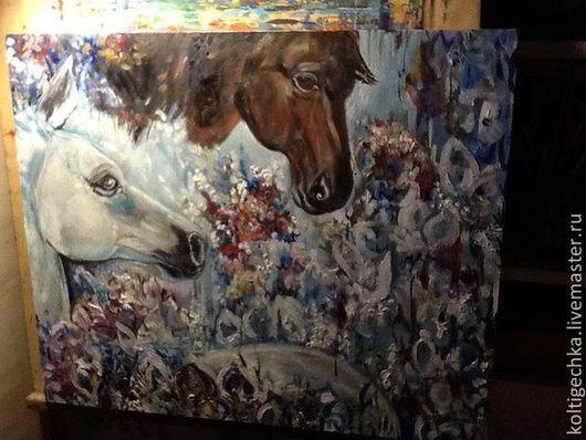 Животные ручной работы. Ярмарка Мастеров - ручная работа. Купить Картина маслом лошади Встреча авангард. Handmade. Голубой, лошадь