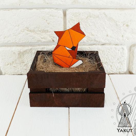 Броши ручной работы. Ярмарка Мастеров - ручная работа. Купить Брошь Огненная лисичка мозайка / деревянная брошь. Handmade.