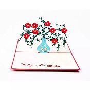Подарки на 8 марта ручной работы. Ярмарка Мастеров - ручная работа Цветок в вазе - 3D открытка ручной работы. Handmade.