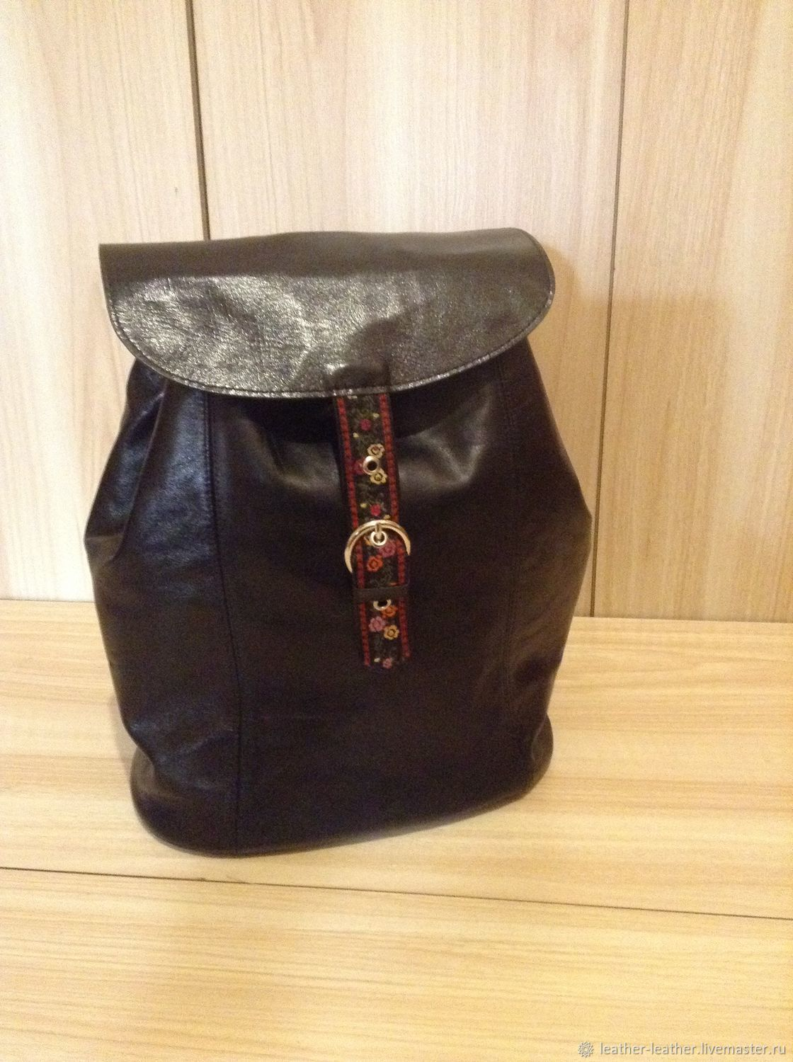 Backpacks handmade. Livemaster - handmade. Buy Black leather ladies backpack and a large soft flap on the lace.