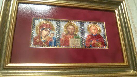 """Иконы ручной работы. Ярмарка Мастеров - ручная работа. Купить Вышивка бисером """"Триптих"""". Handmade. Комбинированный, антибликовое стекло"""