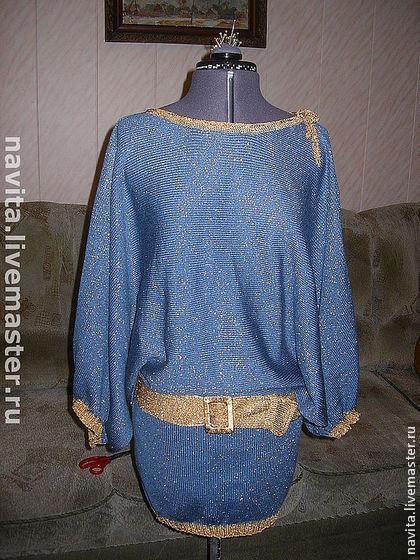 """Платья ручной работы. Ярмарка Мастеров - ручная работа. Купить Платье """"Искра"""". Handmade. Синий, вязаное платье, вязание, полушерсть"""