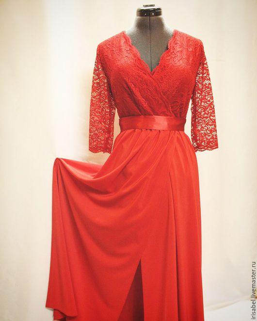 Платья ручной работы. Ярмарка Мастеров - ручная работа. Купить Красное платье в пол с гипюром. Handmade. Ярко-красный
