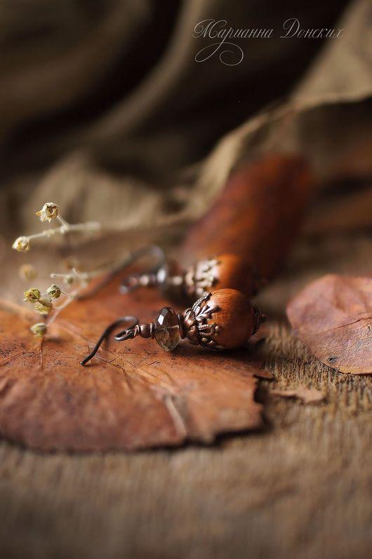 """Серьги ручной работы. Ярмарка Мастеров - ручная работа. Купить Серьги """"Ореховые"""". Handmade. Комбинированный, комплект браслет и серьги"""