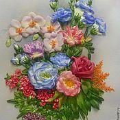 Картины и панно ручной работы. Ярмарка Мастеров - ручная работа картина вышитая лентами Экзотические цветы. Handmade.