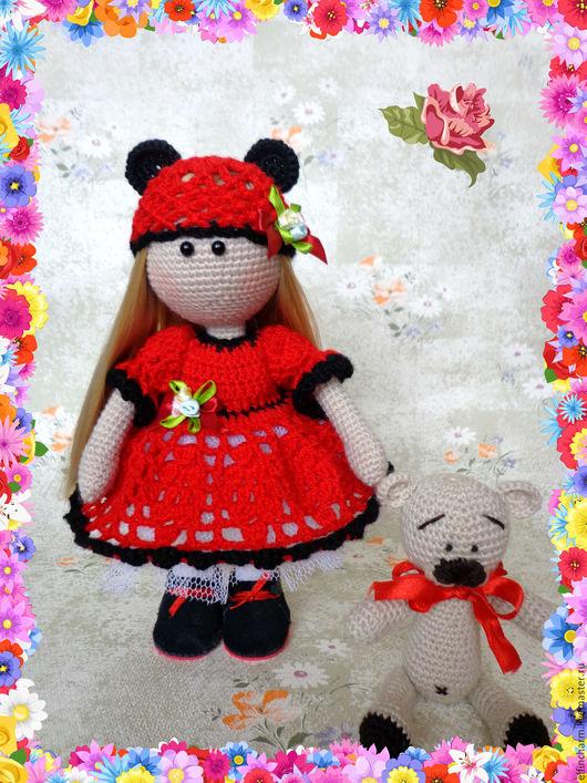 Куклы тыквоголовки ручной работы. Ярмарка Мастеров - ручная работа. Купить Авторская вязаная куколка с медвежонком. Handmade. Комбинированный