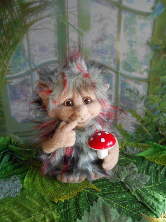 Коллекционные куклы ручной работы. Ярмарка Мастеров - ручная работа. Купить ТРОЛЛЬ валяная скульптура. Handmade. Бежевый, эльф