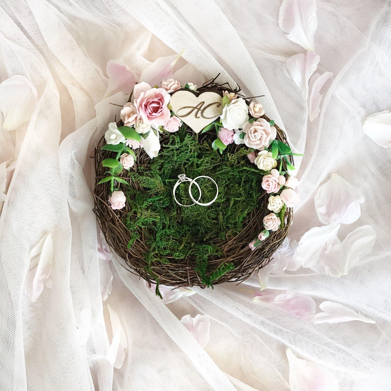 Гнездышко для колец с цветами и инициалами, Подушечки, Москва, Фото №1