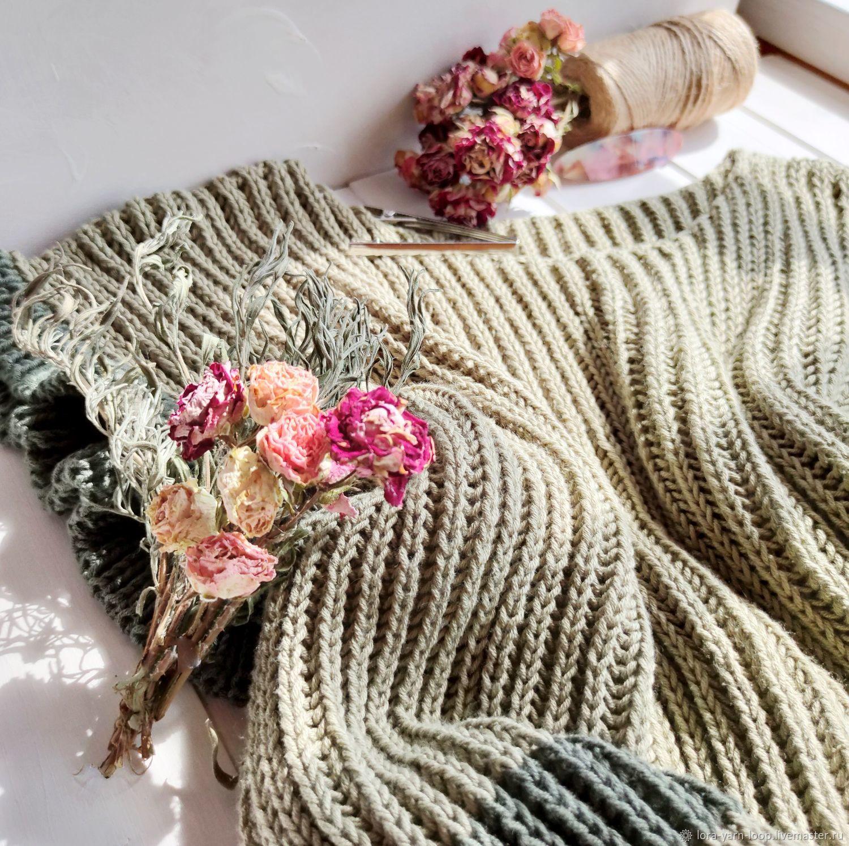 Жилет вязаный оливковый английской резинкой женский, Жилеты, Кострома,  Фото №1