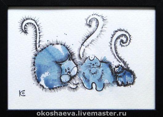 Животные ручной работы. Ярмарка Мастеров - ручная работа. Купить Синие коты. Handmade. Коты и кошки, картина, графика, акварель