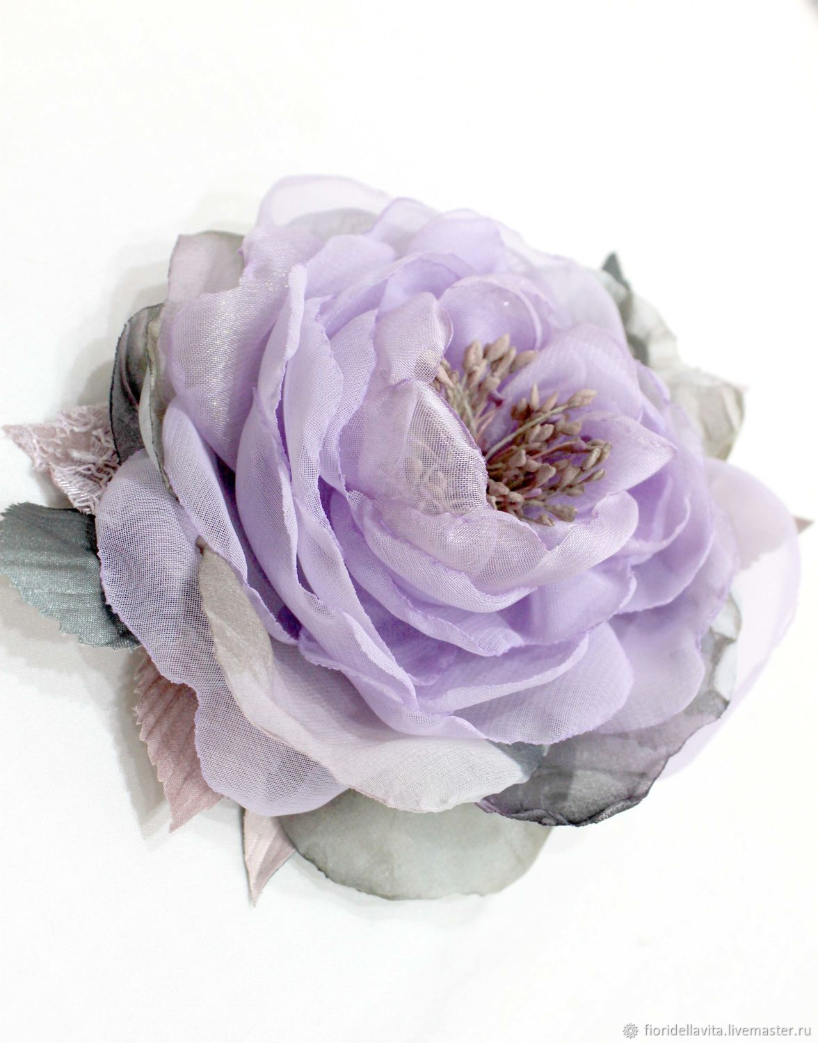 FLOWERS made OF fabric Chiffon rose ' Watercolor lilac', Brooches, Vidnoye,  Фото №1