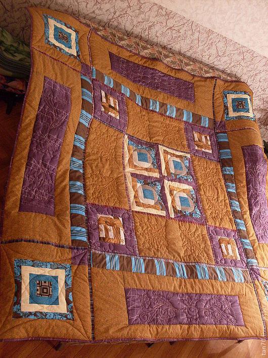 """Текстиль, ковры ручной работы. Ярмарка Мастеров - ручная работа. Купить Одеяло-покрывало """"Деревенька моя"""". Handmade. Стеганое одеяло"""