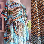 Одежда ручной работы. Ярмарка Мастеров - ручная работа БОХО - Платье уютное  05 Итальянский батист абстракция. Handmade.