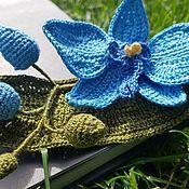 Брошь-булавка ручной работы. Ярмарка Мастеров - ручная работа Броши: Голубая орхидея. Handmade.