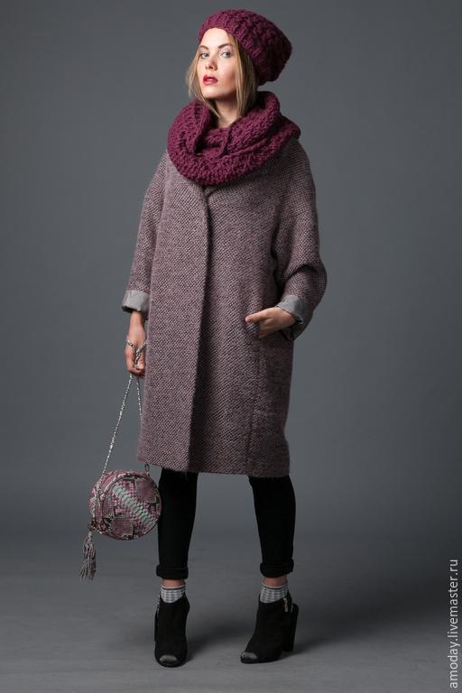 Пальто из ткани букле в модном оттенке AMODAY, кокон пальто, оверсайз пальто демисезонное для примера