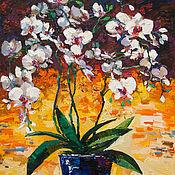 Картины и панно handmade. Livemaster - original item White orchid still life painting Original oil painting. Handmade.