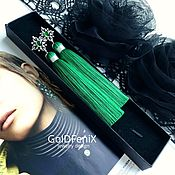 Украшения handmade. Livemaster - original item Earrings-brush Precious emerald green emerald malachite. Handmade.
