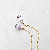 Украшения ручной работы. Ярмарка Мастеров - ручная работа Серьги серебряные Violet - протяжки с розовым аметистом в позолоте. Handmade.