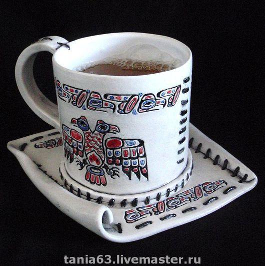 """Сервизы, чайные пары ручной работы. Ярмарка Мастеров - ручная работа. Купить Чайная пара """"Настоящему индейцу..."""". Handmade."""