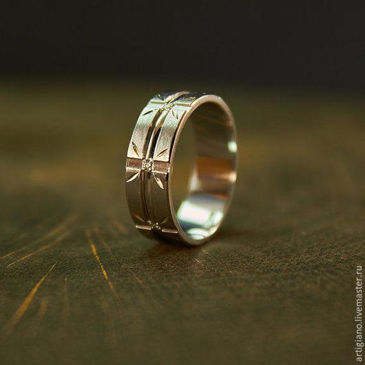 Кольца ручной работы. Ярмарка Мастеров - ручная работа. Купить Кольцо из белого золота с бриллиантами. Handmade. Золотое кольцо