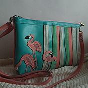 Сумки и аксессуары handmade. Livemaster - original item Leather bag. Crossbody bag. Clutch bag. Flamingo. Handmade.