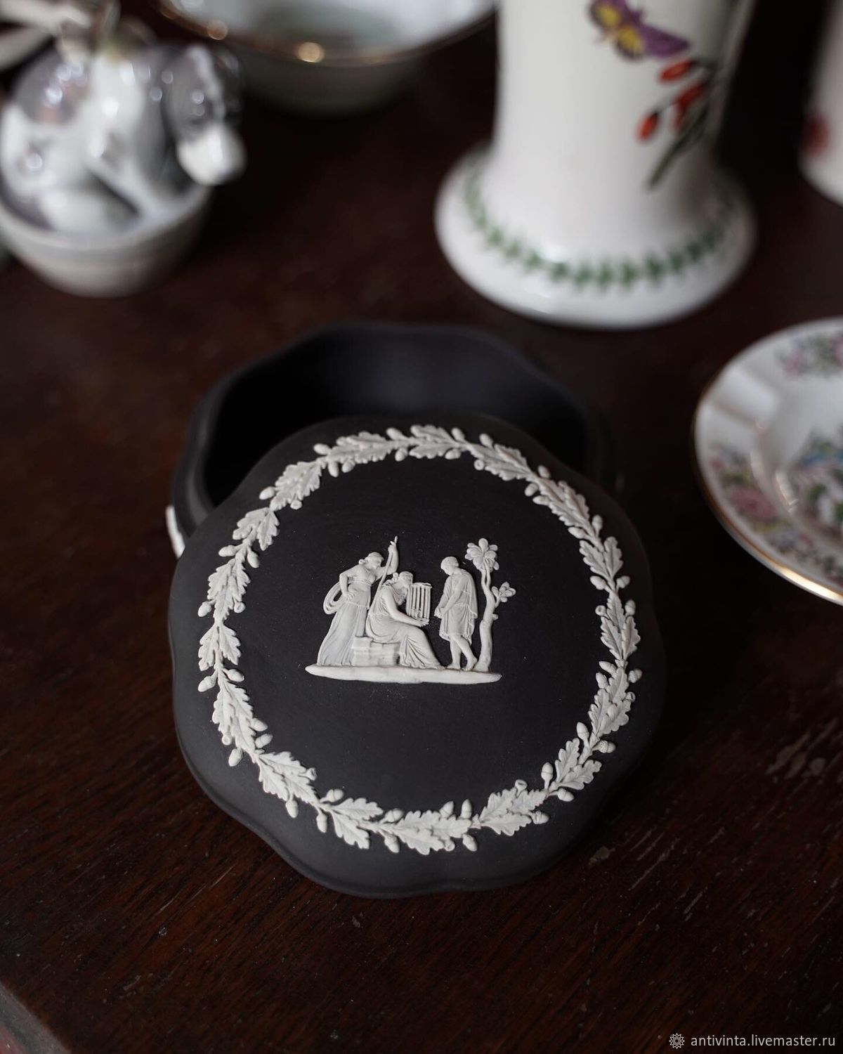WEDGWOOD Box, black biscuit, England, 1972, Vintage interior, Moscow,  Фото №1