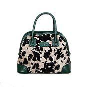 Сумки и аксессуары handmade. Livemaster - original item Spotted suede handbag with green leather. Handmade.