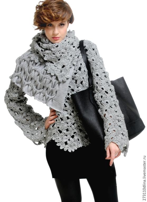 Пуловер с ажурными косами с доставкой