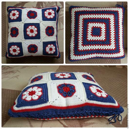 Текстиль, ковры ручной работы. Ярмарка Мастеров - ручная работа. Купить Вязанная подушка. Handmade. Комбинированный, наволочка декоративная