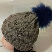 Шапка вязаная с меховым помпоном шапка женская