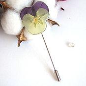Украшения handmade. Livemaster - original item Brooch-needle Pansy Viola Real Flower Resin Jewelry Boho Brooch. Handmade.