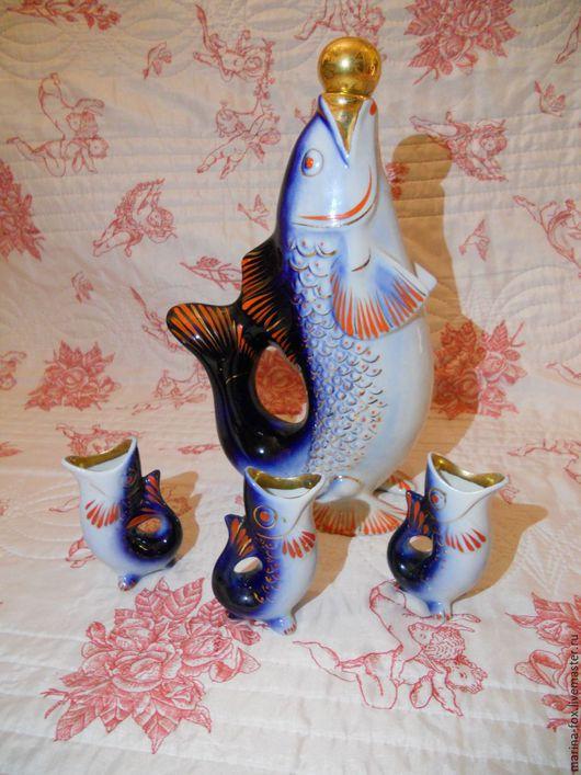 Винтажная посуда. Ярмарка Мастеров - ручная работа. Купить Винтажный Штоф рыба со стопками Городница. Handmade. Тёмно-синий