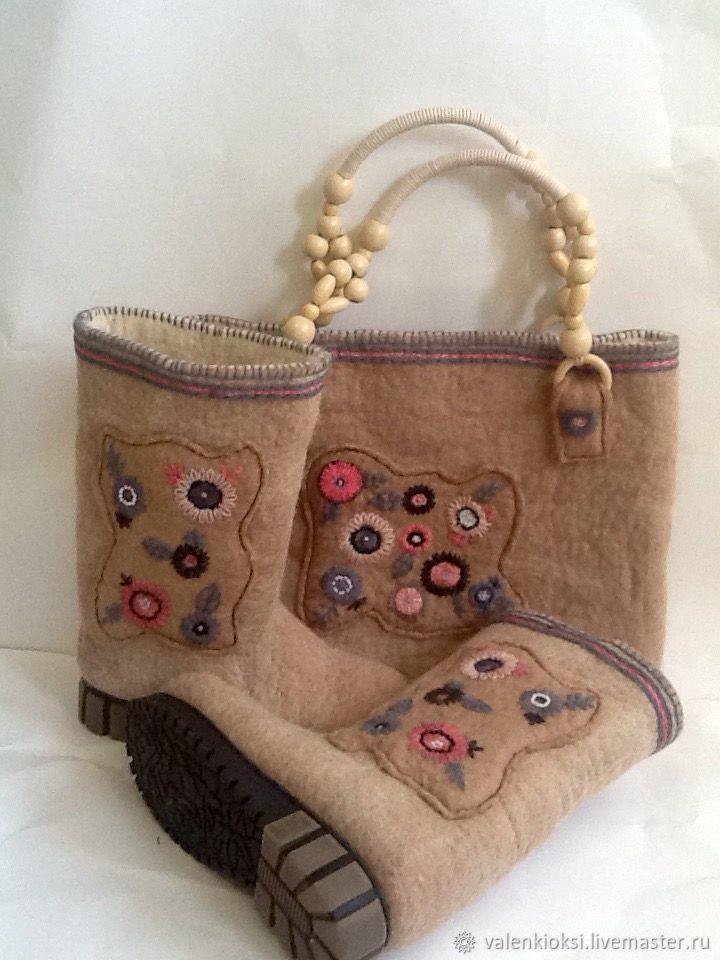 Boots and handbag'Abstraction', Felt boots, Volgodonsk,  Фото №1