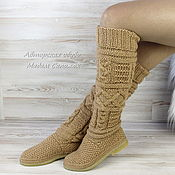 Обувь ручной работы handmade. Livemaster - original item Winter boots beige knitted. Handmade.