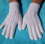Аксессуары handmade. Livemaster - original item White knitted gloves
