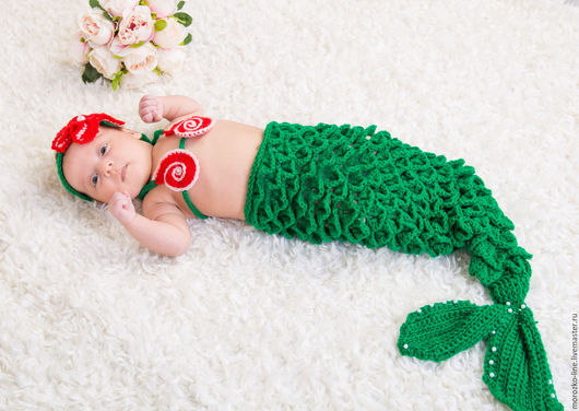 Для новорожденных, ручной работы. Ярмарка Мастеров - ручная работа. Купить Вязаный костюм русалочка. Handmade. Зеленый, Костюм вязаный